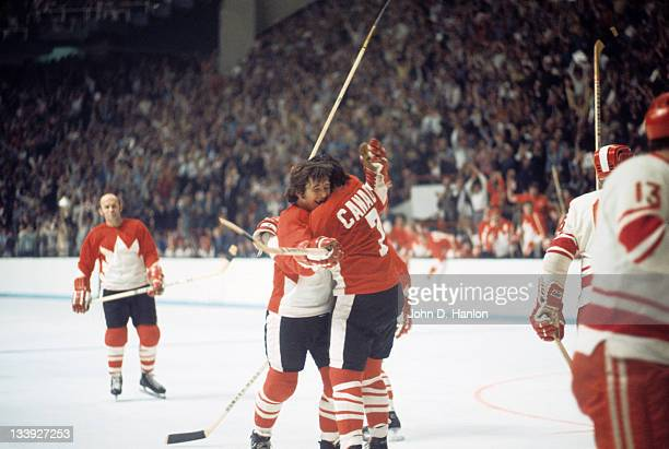 The Summit Series Canada Phil Esposito and Brad Park victorious during game vs Soviet Union at Winnipeg Arena Game 3 Winnipeg Canada 9/6/1972 CREDIT...