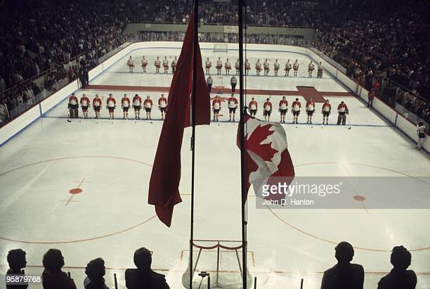 The Summit Series Overall view of Team Canada and Team Soviet Union lining up during national anthem before Game 3 at Winnipeg Arena View of flags...