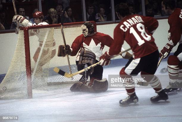 The Summit Series Soviet Union Valeri Kharlamov celebrates behind net after scoring the goal against Ken Dryden of Canada during Game 1 at Montreal...