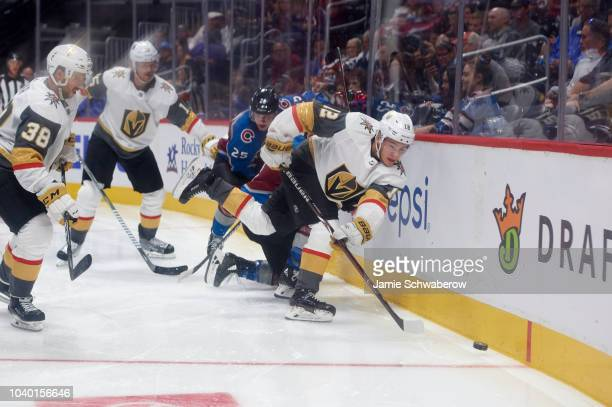 Vegas Golden Knights Erik Brannstrom in action vs Colorado Avalanche during preseason game at Pepsi Center Denver CO CREDIT Jamie Schwaberow