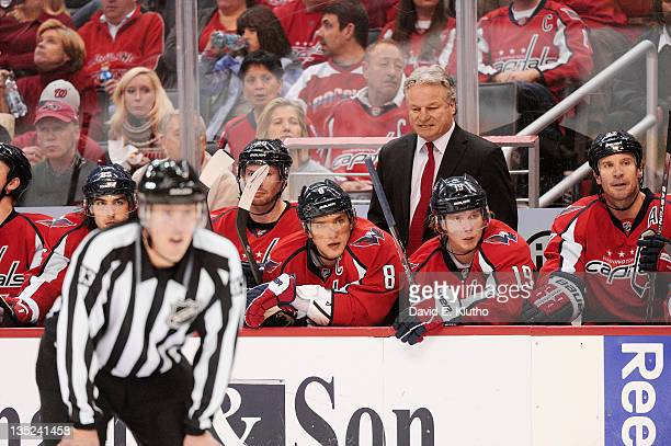 Washington Capitals Alex Ovechkin and Nicklas Backstrom on the bench in front of new head coach Dale Hunter during game vs Ottawa Senators at Verizon...