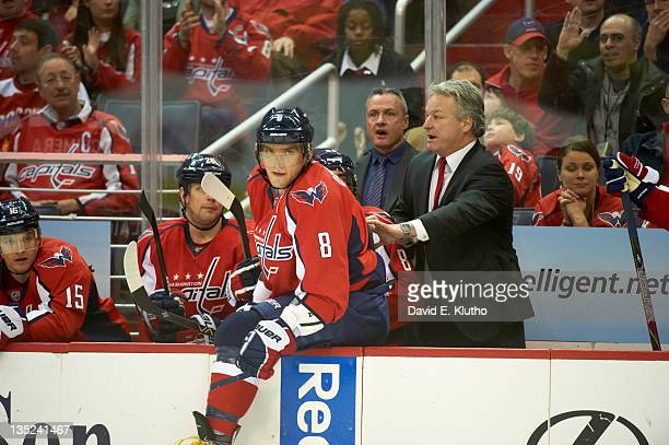 Washington Capitals Alex Ovechkin with head coach Dale Hunter during game vs Ottawa Senators at Verizon Center Washington DC CREDIT David E Klutho