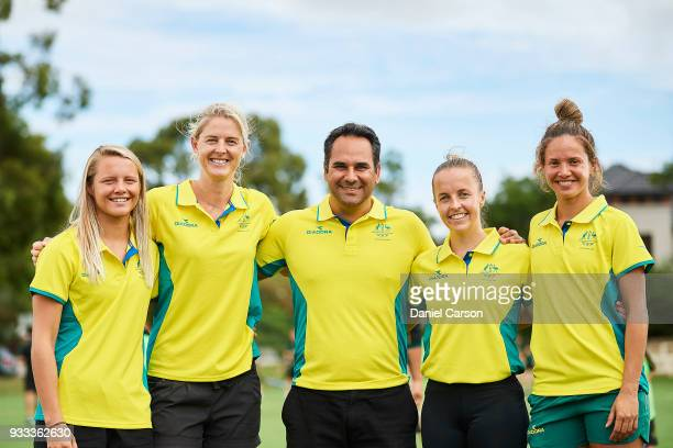 Hockeyroos Madi Ratcliffe Rachael Lynch Paul Gaudoin Emily Smith Brooke Peris during the Australian Commonwealth Games Hockey Teams Announcement at...
