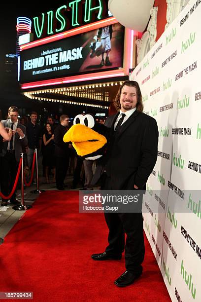AHL hockey's Tux the Penguin mascot Chad Spencer at Hulu Presents The LA Premiere Of 'Behind the Mask' at the Vista Theatre on October 24 2013 in Los...