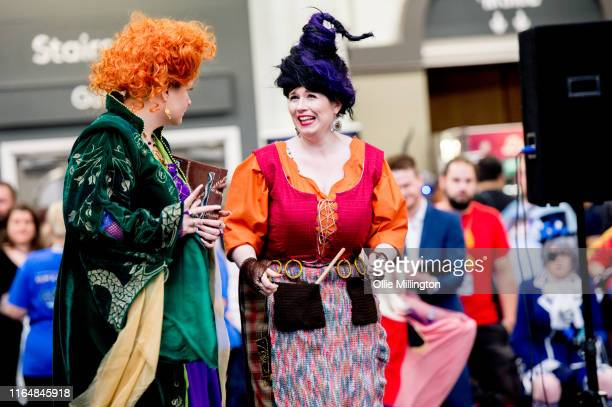Hocus Pocus cosplayers in character as Winifred and Mary Sandersonseen during London Film and Comic Con 2019 at Olympia London on July 27 2019 in...