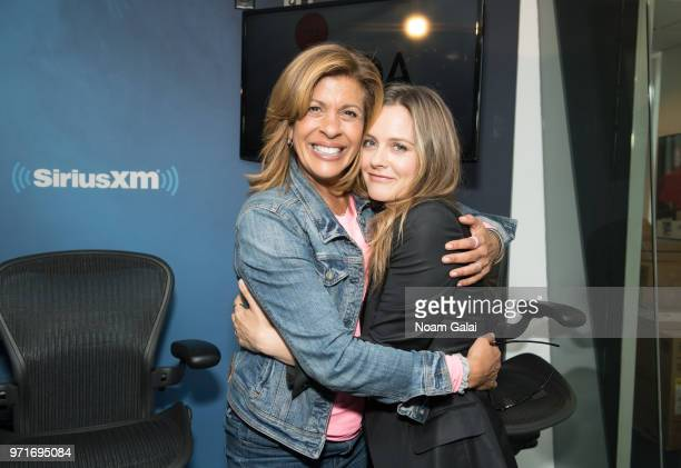 Hoda Kotb and Alicia Silverstone pose for a photo at the TODAY Show Radio at the SiriusXM Studios on June 11 2018 in New York City