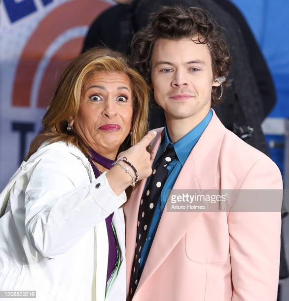 Hoda Kotb and Harry Styles pose On NBC's Today at Rockefeller Plaza on February 26 2020 in New York City