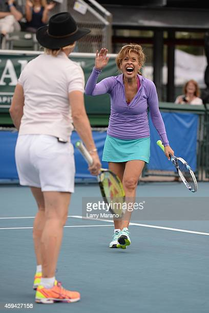 Hoda Kotb and Martina Navratilova participate in 25th Annual Chris Evert/Raymond James ProCelebrity Tennis Classic at Delray Beach Tennis Center on...