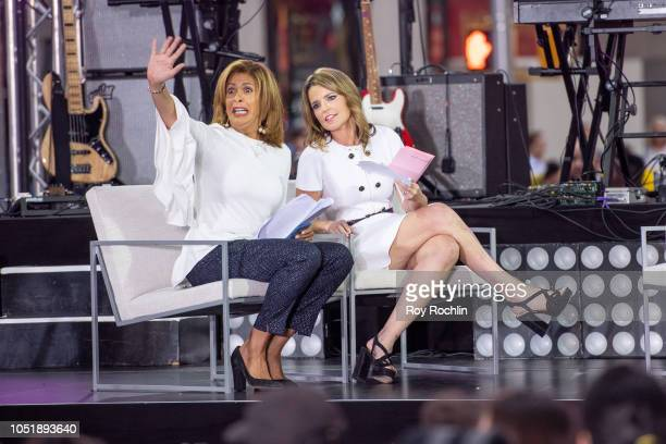 Hoda Kotb and Savannah Guthrie on stage during NBC's 'Today' Celebrates The International Day Of The Girl at Rockefeller Plaza on October 11 2018 in...