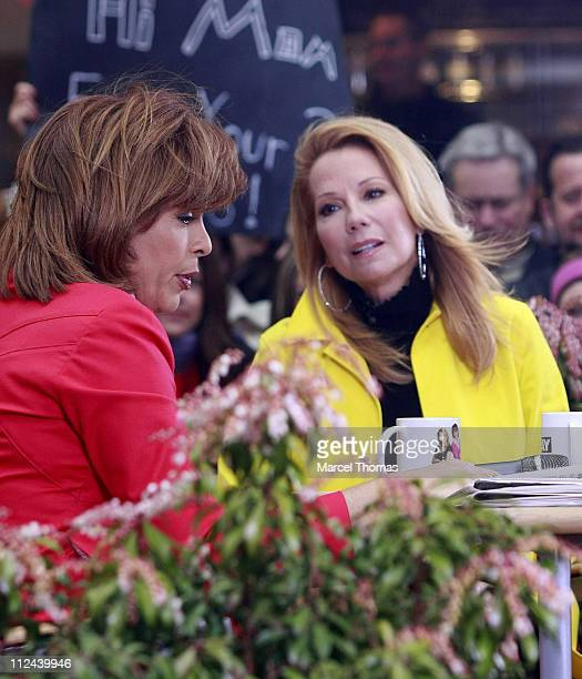 Hoda Kotb joins television personality Kathie Lee Gifford as Gifford makes her debut as new cohost of NBC's Today show at Rockefeller Plaza on April...