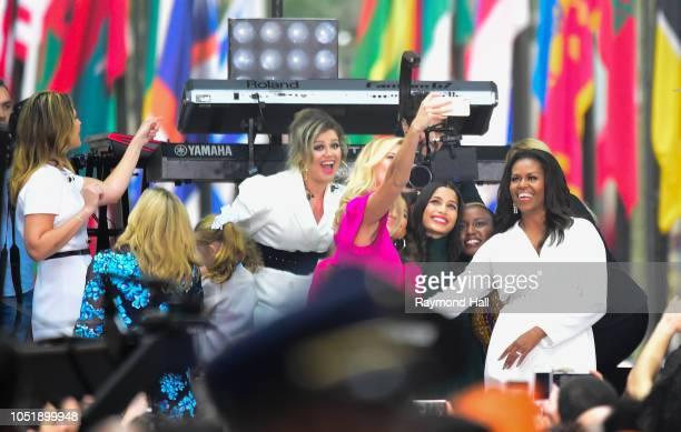 Hoda Kotb Michelle Obama and Savannah GuthrieZendaya ColemanKarlie KlossJennifer HudsonFrieda PintoMeghan TrainorKelly Clarkson are seen on the set...