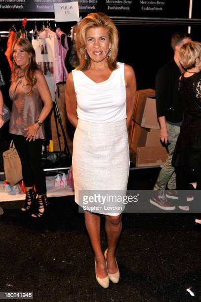 Hoda Kotb poses backstage at the Dennis Basso fashion show during MercedesBenz Fashion Week Spring 2014 at The Stage at Lincoln Center on September...