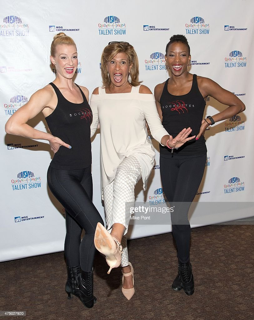 Hoda Kotb (C) poses with Rockettes at the 2015 Garden of Dreams Talent Show rehearsal at Radio City Music Hall on May 28, 2015 in New York City.
