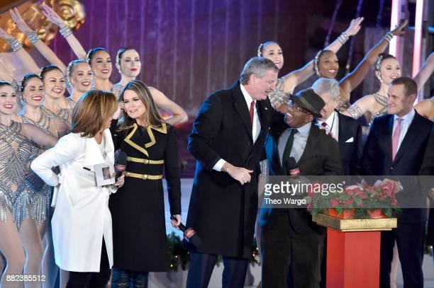 Hoda Kotb Savannah Guthrie Mayor Bill DeBlasio and Al Roker push the TreeLighting button onstage during the 85th Rockefeller Center Christmas Tree...