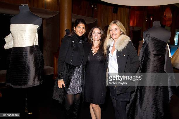 Hoda Roche-Darmon, Claudia Szerer and Marie Poniatowska attend the Claudia Szerer Haute Couture Spring / Summer 2012 Presentation as part of Paris...