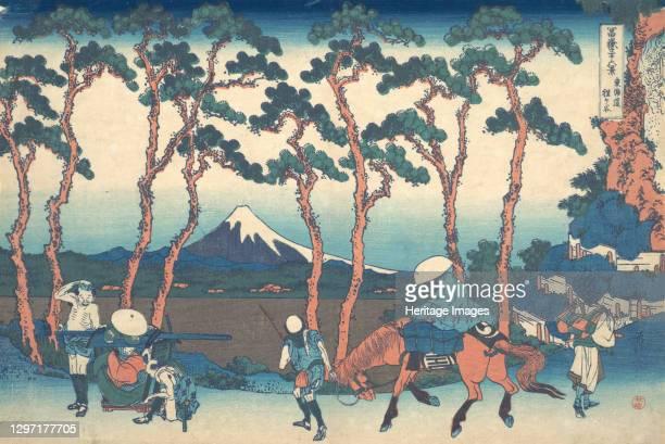 Hodogaya on the Tokaido , from the series Thirty-six Views of Mount Fuji , circa 1830-32. Artist Hokusai.