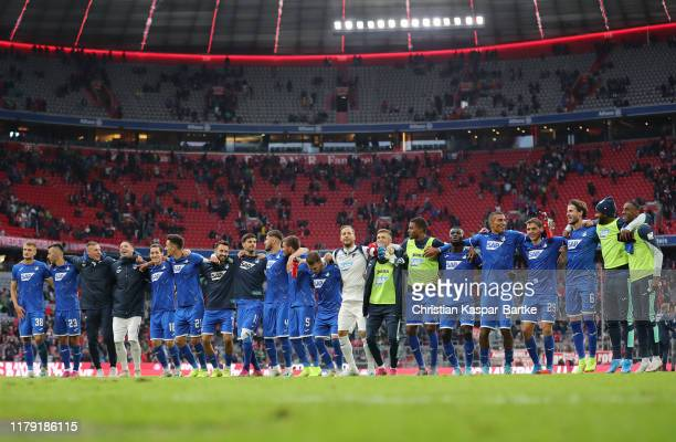 Hoffenheim celebrate after the Bundesliga match between FC Bayern Muenchen and TSG 1899 Hoffenheim at Allianz Arena on October 05, 2019 in Munich,...