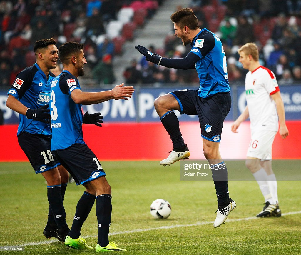 Hoffenheim celebrates after scoring the second goal during the Bundesliga match between FC Augsburg and TSG 1899 Hoffenheim at WWK Arena on January 21, 2017 in Augsburg, Germany.