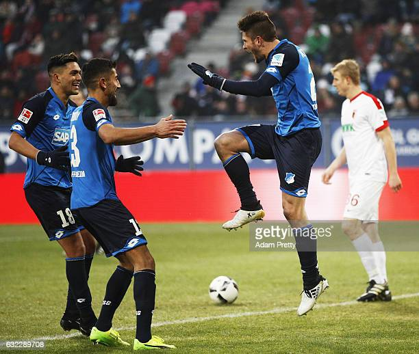 Hoffenheim celebrates after scoring the second goal during the Bundesliga match between FC Augsburg and TSG 1899 Hoffenheim at WWK Arena on January...