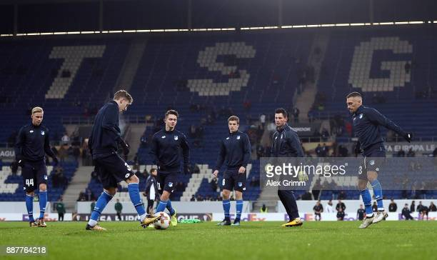 Hoffenheim players warm up ahead of the UEFA Europa League group C match between 1899 Hoffenheim and PFC Ludogorets Razgrad at Wirsol...