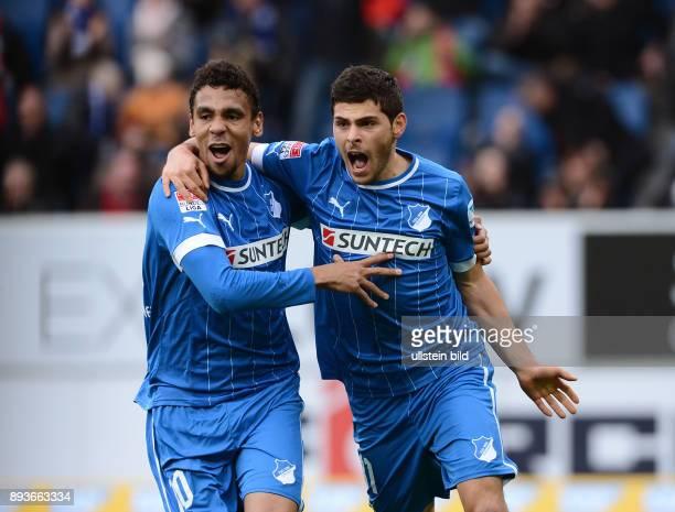 20 Spieltag Saison 2012/2013 FUSSBALL 1 BUNDESLIGA SAISON Hoffenheim SC Freiburg Torschutze zum 11 Ausgleich Kevin Volland umarmt von Igor de Camargo
