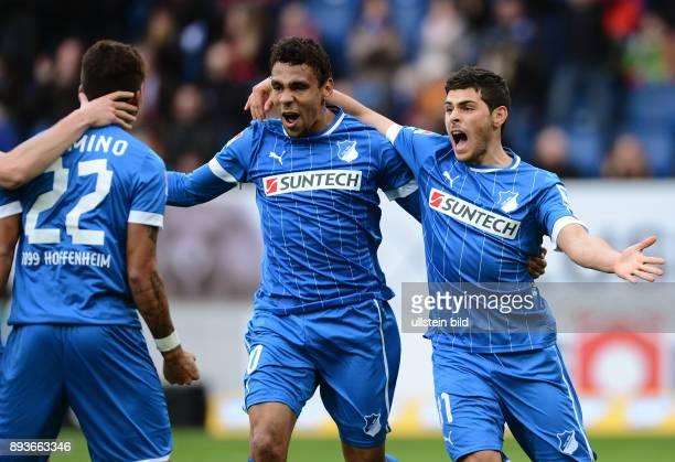 20 Spieltag Saison 2012/2013 FUSSBALL 1 BUNDESLIGA SAISON Hoffenheim SC Freiburg Torschutze zum 11 Ausgleich Kevin Volland umarmt von Igor de Camargo...