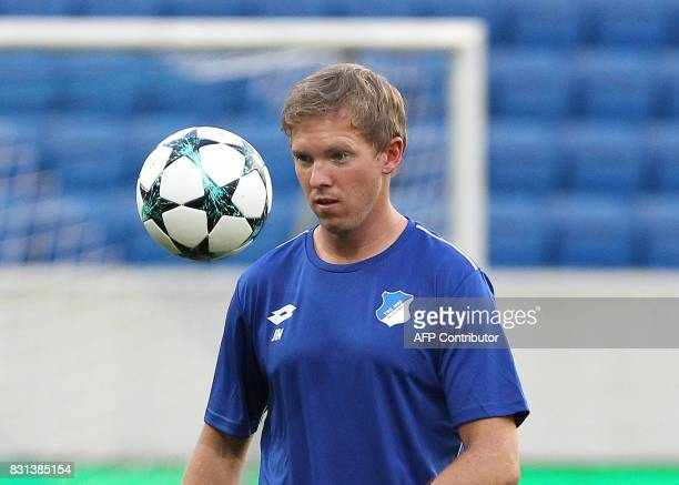 Hoffenheim's coach Julian Nagelsmann is pictured during a training session on August 14 2017 in Sinsheim Germany on the eve of the football champions...