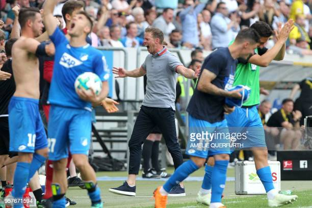 Hoffenheim's coach Julian Nagelsmann reacts at the end of the German first division Bundesliga football match TSG 1899 Hoffenheim vs Borussia...