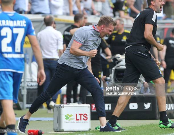 Hoffenheim's coach Julian Nagelsmann reacts at the end of the German first division Bundesliga football match TSG 1899 Hoffenheim vs Borussia...