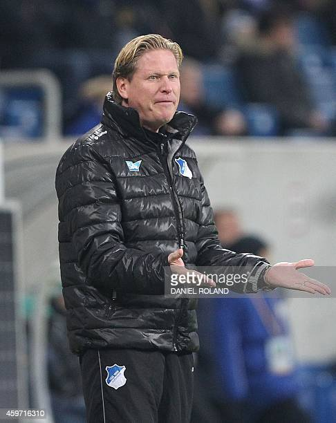 Hoffenheim's coach Markus Gisdol reacts during the German first division Bundesliga football match 1899 Hoffenheim vs Hannover 96 in Sinsheim...