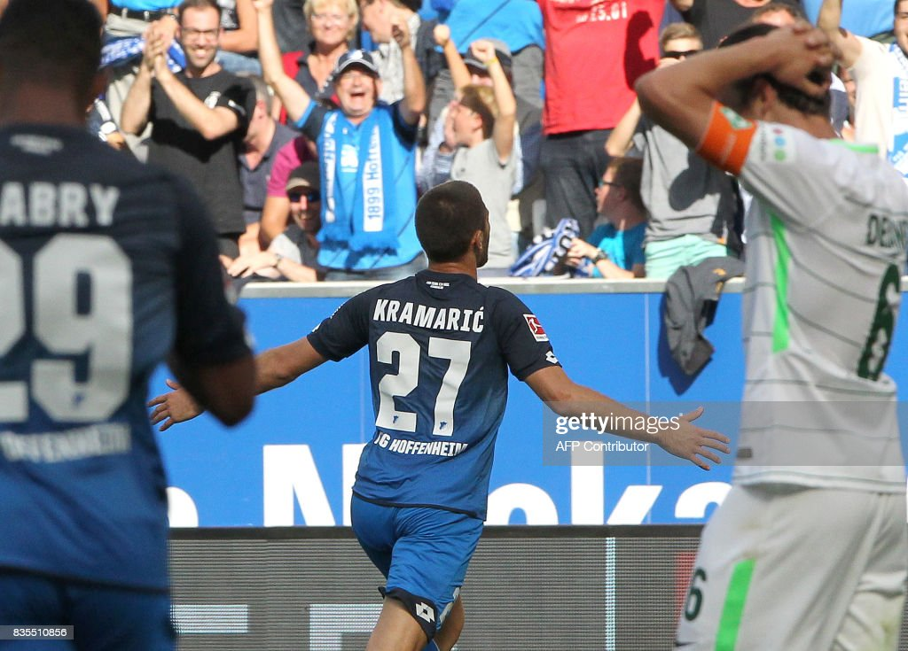 Hoffenheim's Croatian forward Andrej Kramaric celebrates scoring the 1-0 during the German First division Bundesliga football match TSG 1899 Hoffenheim v Werder Bremen in Sinsheim, southern Germany on August 19, 2017. / AFP PHOTO / Daniel