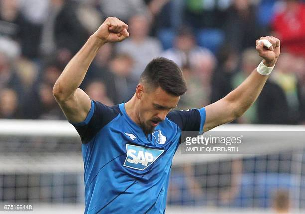 Hoffenheim's forward Sandro Wagner celebrates after the German first division Bundesliga football match between TSG Hoffenheim and Eintracht...