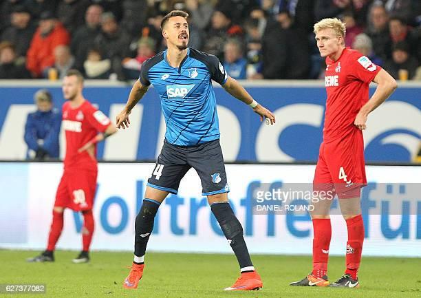 Hoffenheim's forward Sandro Wagner celebrates scoring the 30 during the German first division Bundesliga football match between TSG Hoffenheim and 1...
