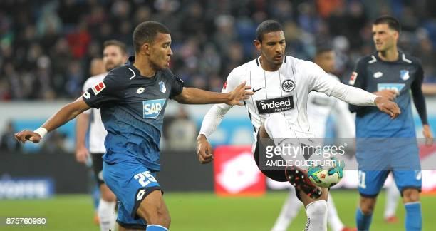 Hoffenheim's German defender Kevin Akpoguma and Frankfurt's French forward Sebastien Haller vie for the ball during the German First division...
