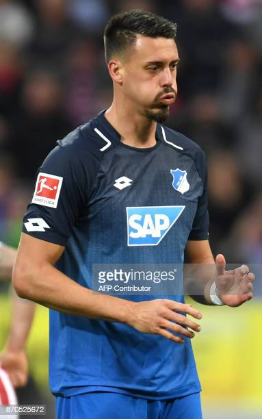 Hoffenheim's German forward Sandro Wagner reacts during the German first division Bundesliga football match FC Cologne vs 1899 Hoffenheim in Cologne...