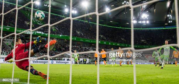 Hoffenheim's German goalkeeper Oliver Baumann stops a penalty kick during the German First division Bundesliga football match TSG 1899 Hoffenheim vs...