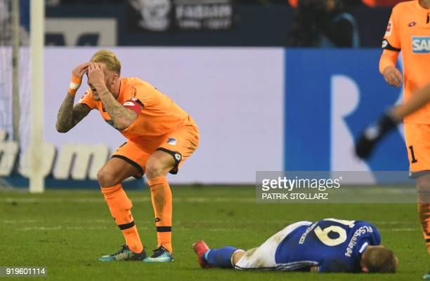 Hoffenheim's German midfelder Kevin Vogt reacts during the German first division Bundesliga football match FC Schalke 04 vs Hoffenheim in...