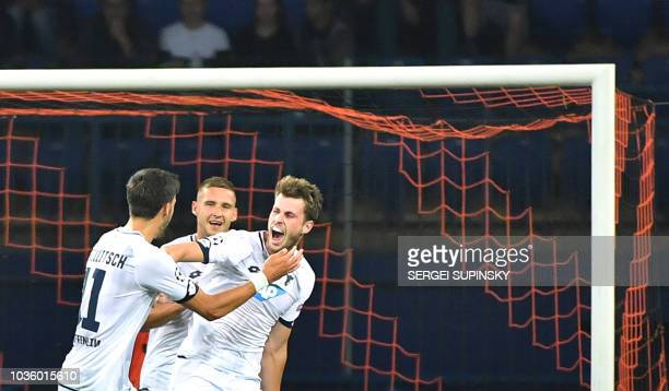 Hoffenheim's Havard Nordtveit reacts after scoring a goal during the UEFA Champions League Group F football match between FC Shakhtar Donetsk and TSG...