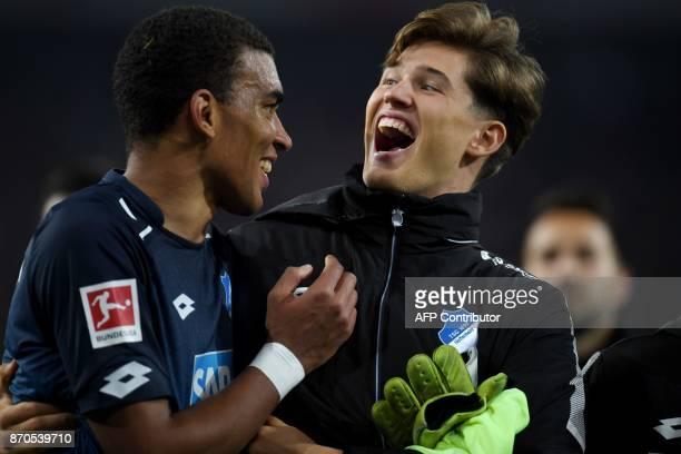 Hoffenheim´s Kevin Akpoguma and Gregor Kobel react after the German First division Bundesliga football match 1 FC Cologne vs TSG Hoffenheim in...