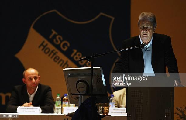 Hoffenheim's maecenas Dietmar Hopp holds a speech during the annual meeting of the Bundesliga team 1899 Hoffenheim on December 14 2009 in Hoffenheim...