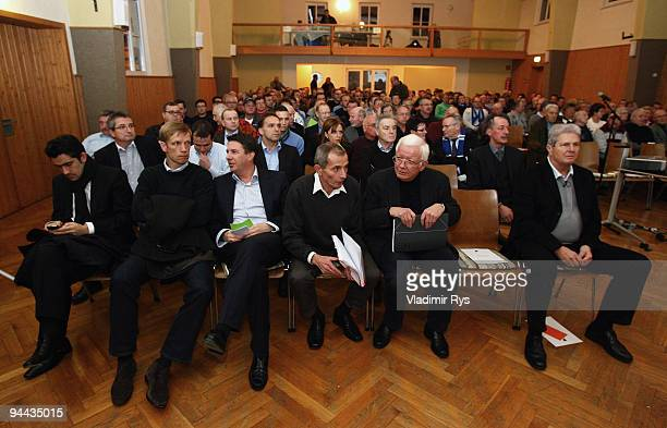 Hoffenheim's maecenas Dietmar Hopp manager Jan Schindelmeiser and Hoffenheim CEO Jochen Rotthaus are pictured during the annual meeting of the...