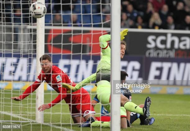 Hoffenheim's midfielder Marco Terrazzino scores during the German first division Bundesliga football match TSG 1899 Hoffenheim vs FSV Mainz 05 in...