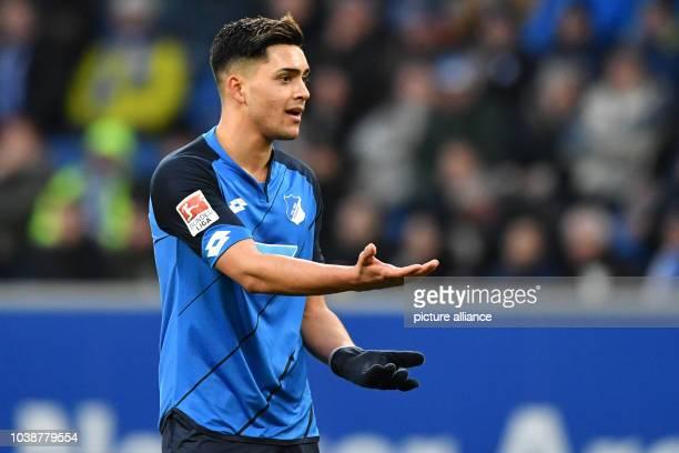 Hoffenheim's Nadiem Amiri gestures during the German soccer Bundesliga match between 1899 Hoffenheim and FSV Mainz 05 in the Rhein Neckar Arena in...
