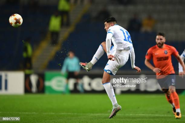 Hoffenheim's Nadiem Amiri kicks the ball during the UEFA Europa League football match Istanbul Basaksehir versus 1899 Hoffenheim at the Fatih Terim...