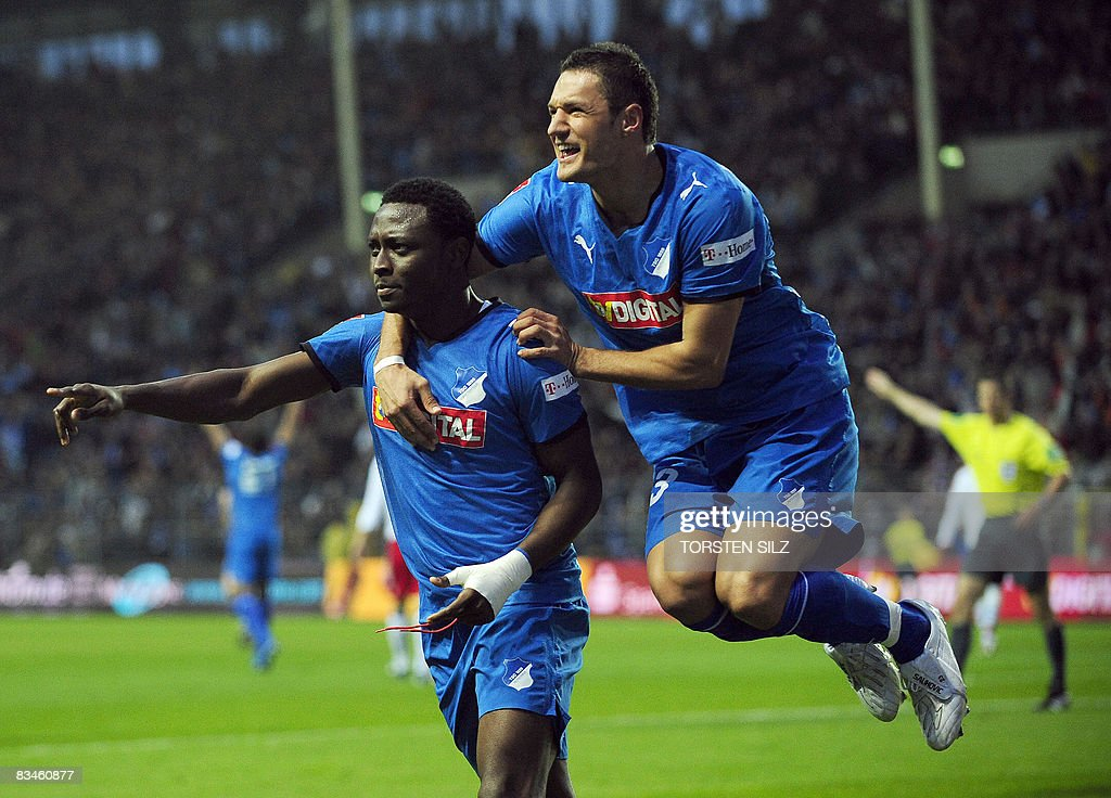 DFL. Hoffenheim's Nigerian striker Chinedu Obasi (front) celebrates scoring with his teammate Bosnian midfielder Sejad Salihovic during the German first division Bundesliga football match TSG 1899 Hoffenheim vs Hamburger SV in the southern German city of Mannheim on October 26, 2008.