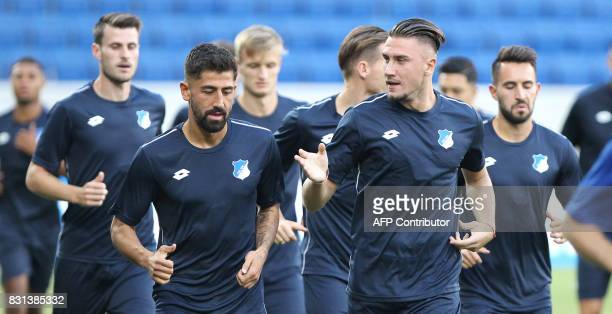 Hoffenheim's palyers attend a training session on August 14 2017 in Sinsheim Germany on the eve of the football champions league qualifier match TSG...
