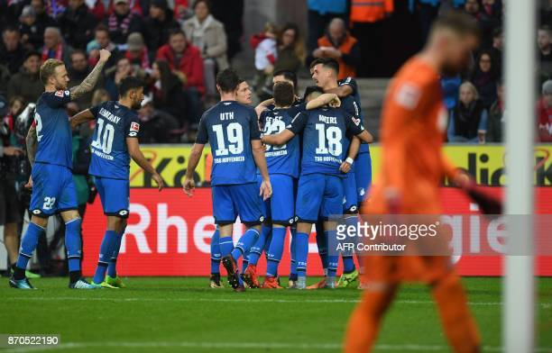 Hoffenheim's players celebrate after Hoffenheim's German forward Sandro Wagner scored the 02 during the German first division Bundesliga football...