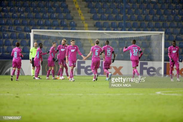 Hoffenheims players celebrates scoring during the UEFA Europa League Group L football match FC Slovan Liberec v TSG 1899 Hoffenheim in Liberec, Czech...