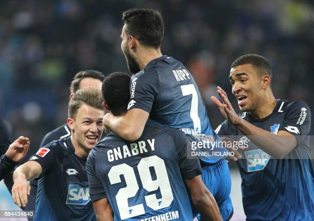 Hoffenheims's German midfielder Serge Gnabry celebrates scoring the 20 during the German First division Bundesliga football match TSG 1899 Hoffenheim...