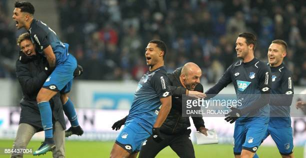 Hoffenheims's German midfielder Serge Gnabry celebrates scoring the 30 during the German First division Bundesliga football match TSG 1899 Hoffenheim...